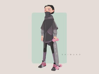 Shimuko skateboard longboard zbrush character design character shimur 3d