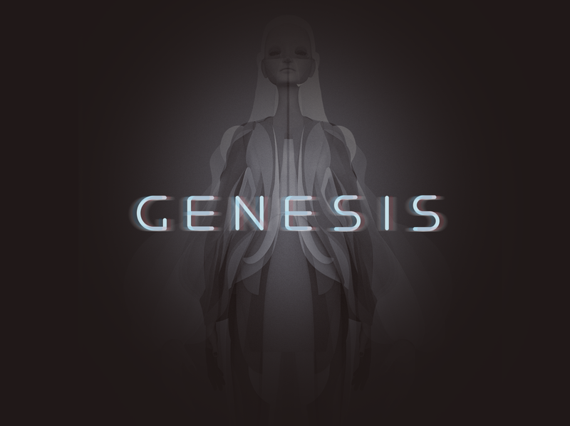 Genesis fashion flatstyle logo vector zbrush girl character shimur 3d illustration