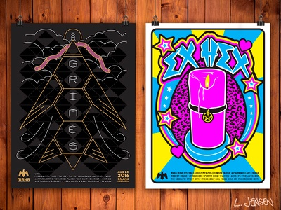 Grimes & Ex Hex screen printed posters rock poster gig poster screen printing screen print illustration layout leannarts vector print poster