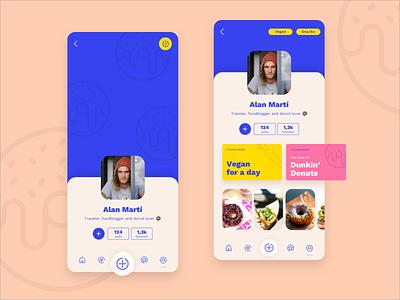 Daily UI - User Profile 👤 user userprofile appui foodstories recipes foodie uicolors uidesign donut foodblog foodapp vector design dailyui app ui