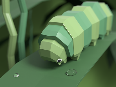 Low Poly Caterpillar low poly blender render 3d art cute