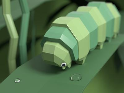 Low Poly Caterpillar low poly blender render 3d art cute