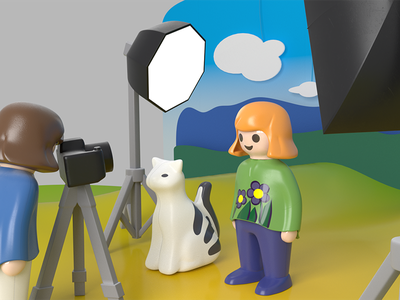 Imagine a photoshoot of a toy... plastic 3d blender