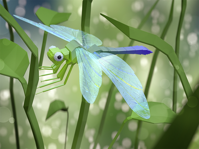 Lowpoly Dragonfly dragonfly insect bokeh nature render low poly blender art 3d