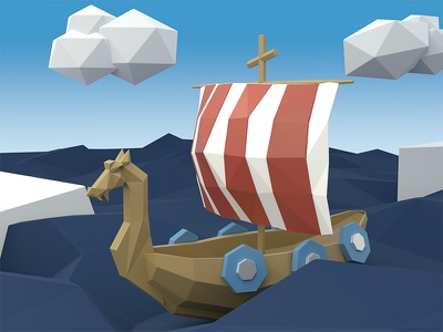 Low Poly Viking Ship blue clouds ocean ship viking render low poly blender art 3d