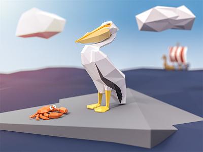 Lowpoly Pelican blue clouds viking ship ocean crab pelican render lowpoly blender art 3d