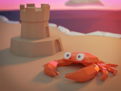 Lowpoly Crab sandcastle seaside shore beach sand render ocean lowpoly crab blender art 3d