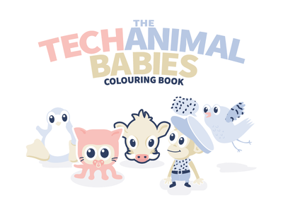 Techanimalbabies Colouringbook famouslogos baby developer coder illustration
