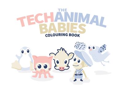 Techanimalbabies Colouringbook famouslogos baby developer coder illustration