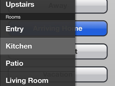 Lutron controller iOS app - room selection drawer lutron ui ux iphone app home automation remote