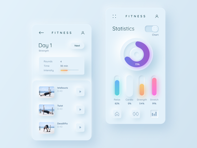 Fitness - neumorphism fitness soft ui profile card gradient clean app chart dashboad skeuomorphism neumorphic neumorphism