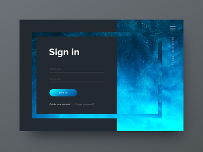 Sign In for Daily UI #001 dailyui turquoise blue gradient dark log form in sign