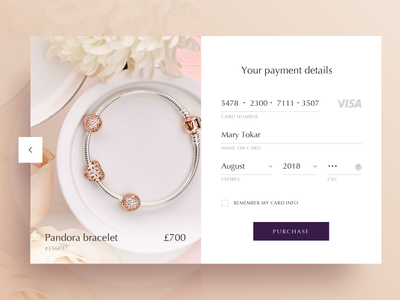 Credit Card Checkout for Daily UI #002 dailyui purchase flowers bracelet feminine product e-commerce checkout card credit payment