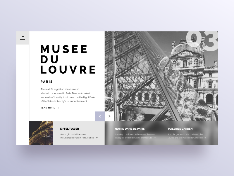 Landing page for Daily UI #003 dailyui menu blur paris slider card architecture cover page landing
