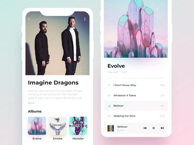 Music Player/app for Daily UI #009 dailyui iphone ios album singer gradient profile colorful clean music player app