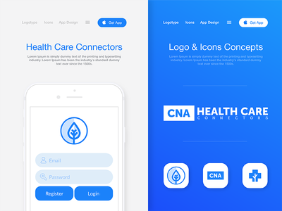 Health Care Connectors - Approved Logo and Icons Concepts interface store app medical health blue logo approved icons ux ui