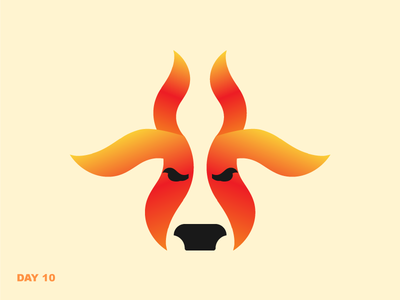Daily Logo Challenge #10 flame fire bull logo