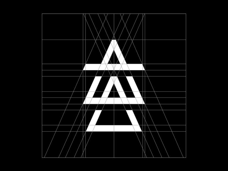 Air Apparent Logo [Grid] air apparent icon triangle musician aa monogram alchemy elements wordmark custom lettering typography grid dj producer brand identity logo branding air elemental