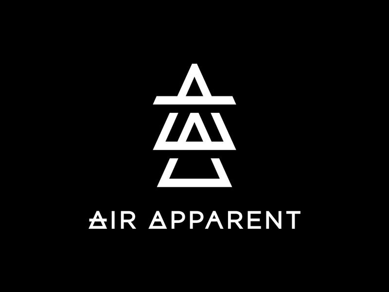 Air Apparent Logo wordmark typography triangle producer musician monogram logo icon grid elements elemental dj custom lettering branding brand identity alchemy air apparent air aa