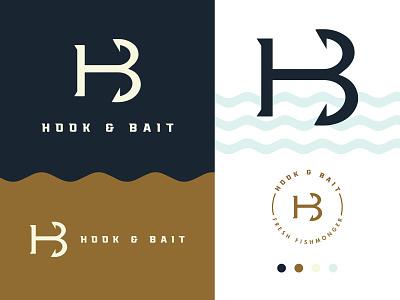 Hook and Bait - Fresh Fishmonger Logo logo design restaurant nautical brand identity typography brand minimal monogram wordmark lettermark b h hb bait hook fisherman fish fishmonger fresh logo
