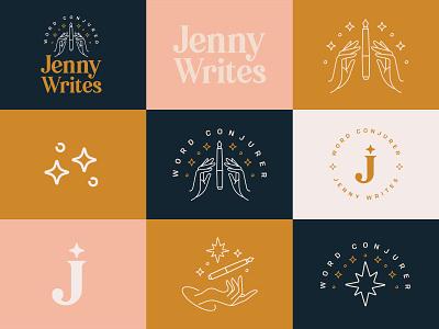 Jenny Writes Branding - Word Conjurer sparkle hands identity typography branding logo magician spell magic conjurer conjuror word copywriter jenny writes