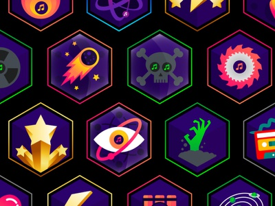 Music creation achievement Badges iconography icon ui illustration success logo design pin badges medals music production xp gamification online learning composition music award badges achivement