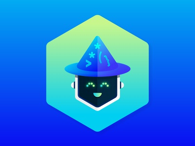 Robot Wizard Mascot badge character illustration artificial intelligence ai bot flat design security infrastructure automaton wizard hat hexagon logo icon app icon coding developer wizard character illustration mascot bot