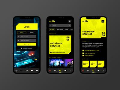 Event booking app concept     UPTIX login calendar ticket app book now app ui concert search profile tickets rave festival music social ui ux event app booking event mobile app app