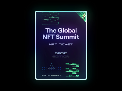 The Global NFT Summit - NFT Ticket Designs nft art crypto art eth rarible cryptocurrency kokolas non fungible tokens neon 3d animation raffle branding 3d art crypto ticket crypto blockchain event global summit nft ticket ticket nft