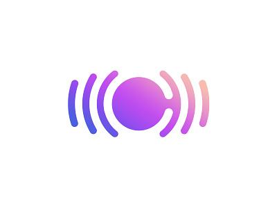 ChromaNota (vibration, C monogram & eye) pulse vibration symbol wave sound monogram logo icon gradient eye c audio