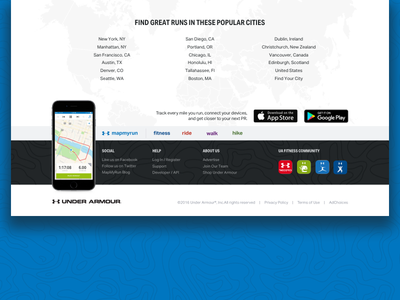 MapMy Footer landing page walk ride hike web footer under armour mapmyrun