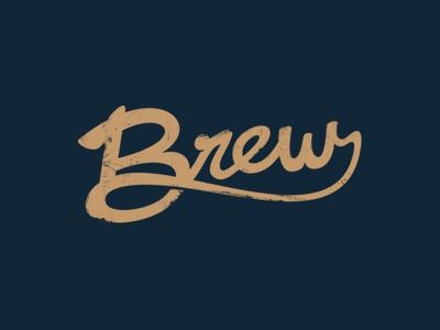 Brew script logotype hand lettering brew