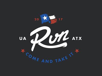 Run ATX sports branding armour under script flag austin run texas
