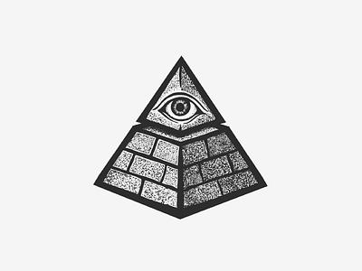The All Seeing Eye black seeing all pyramid tattoo ink illustration eye