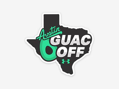 Austin Guac Off! logo illustration stickermule sticker office armour under avocado guacamole austin texas