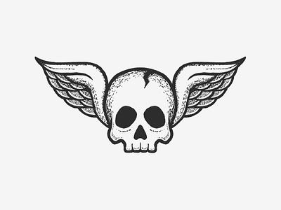 Live Fast, Die Fun motorcycle design illustration ipad drawing ink black tattoo wings skull
