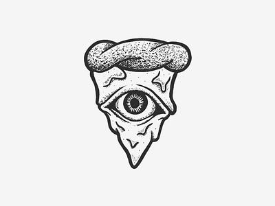 In Crust We Trust trust we crust eye blackwork black ipad ink drawing pizza