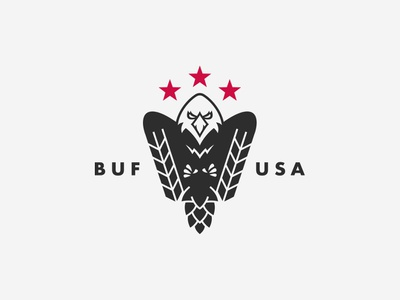 First Line Brewing beer branding logo patriotic talon buffalo ny buffalo barley hops beer logo design service army military bird fire police usa eagle brewery