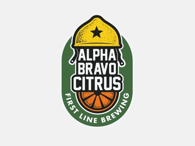 Alpha Bravo Citrus beer branding branding lemon orange helmet army craftbeer beer