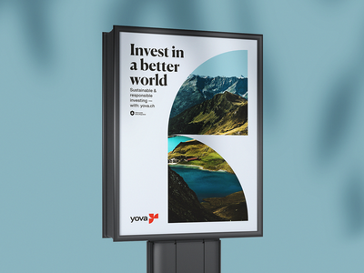 Yova Medium Print green better world corporate identity webdesign financial investing swiss layout corporate branding branding lake river mountains nature marketing advertising poster billboard print yova