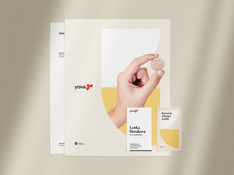 Yova Small Print trust green yellow human rights globe human movment investments financial sustainable windmill sun river agency brand identity branding book of standard brand book brand guidelines yova