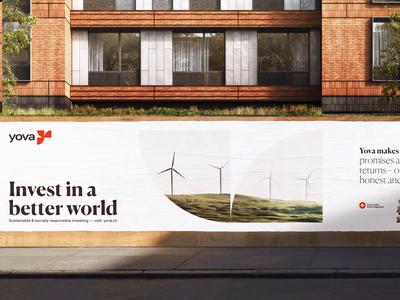 Yova Large Print symbol logo branding and identity branding design positive impact change global economy green better world branding yova invest street billboard