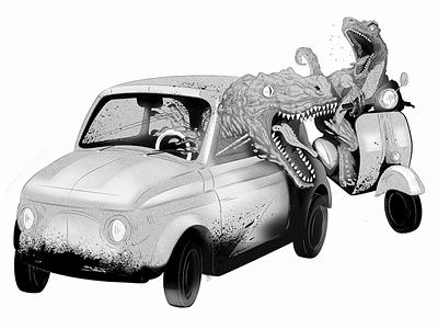 traffic safety - process illustration dinosaur trafficsafety