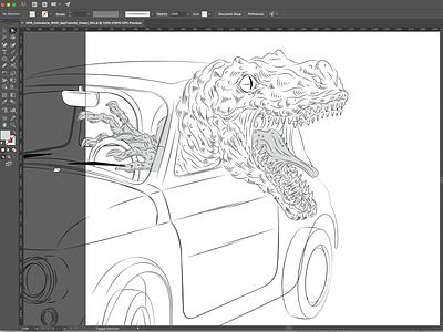 Traffic de-evolution traffic dinosaur illustration art