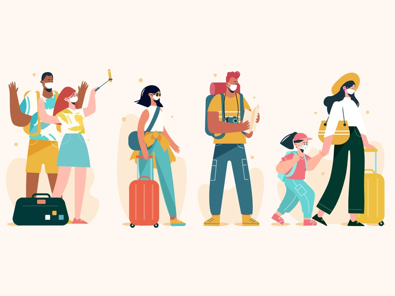 Tourists wearing face masks new normal tourists facemasks people vector people illustration lifestyle vector illustration character illustration