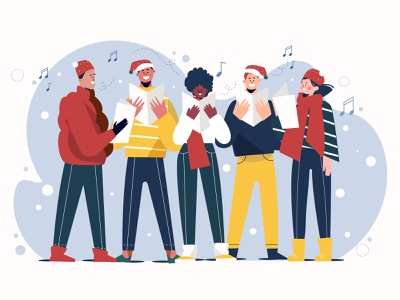 Friends Singing Christmas Carol happy people christmas carol christmas friends people illustration lifestyle vector illustration character illustration