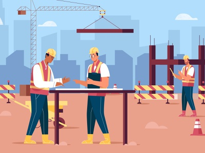 Engineers Working on Construction engineers construction constructor people illustration vector illustration lifestyle character illustration