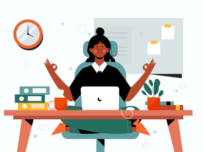 Business Person Meditating meditating business people office vector people people illustration vector illustration lifestyle character illustration