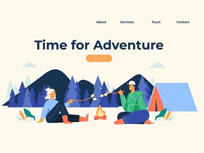 Adventure Landing Page camping adventure people people illustration vector illustration lifestyle character illustration