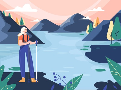 Adventure Concept mountain camping adventure vector people people illustration vector illustration lifestyle character illustration